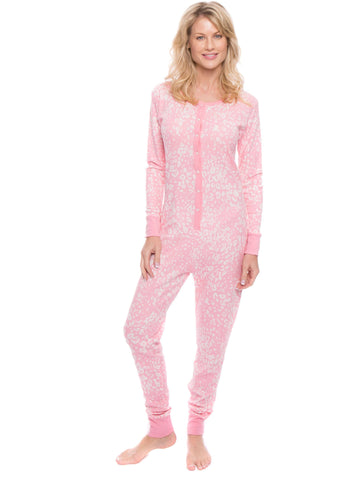ee2dc4268231 Women s Waffle Knit Thermal Onesie Pajamas – Noble Mount