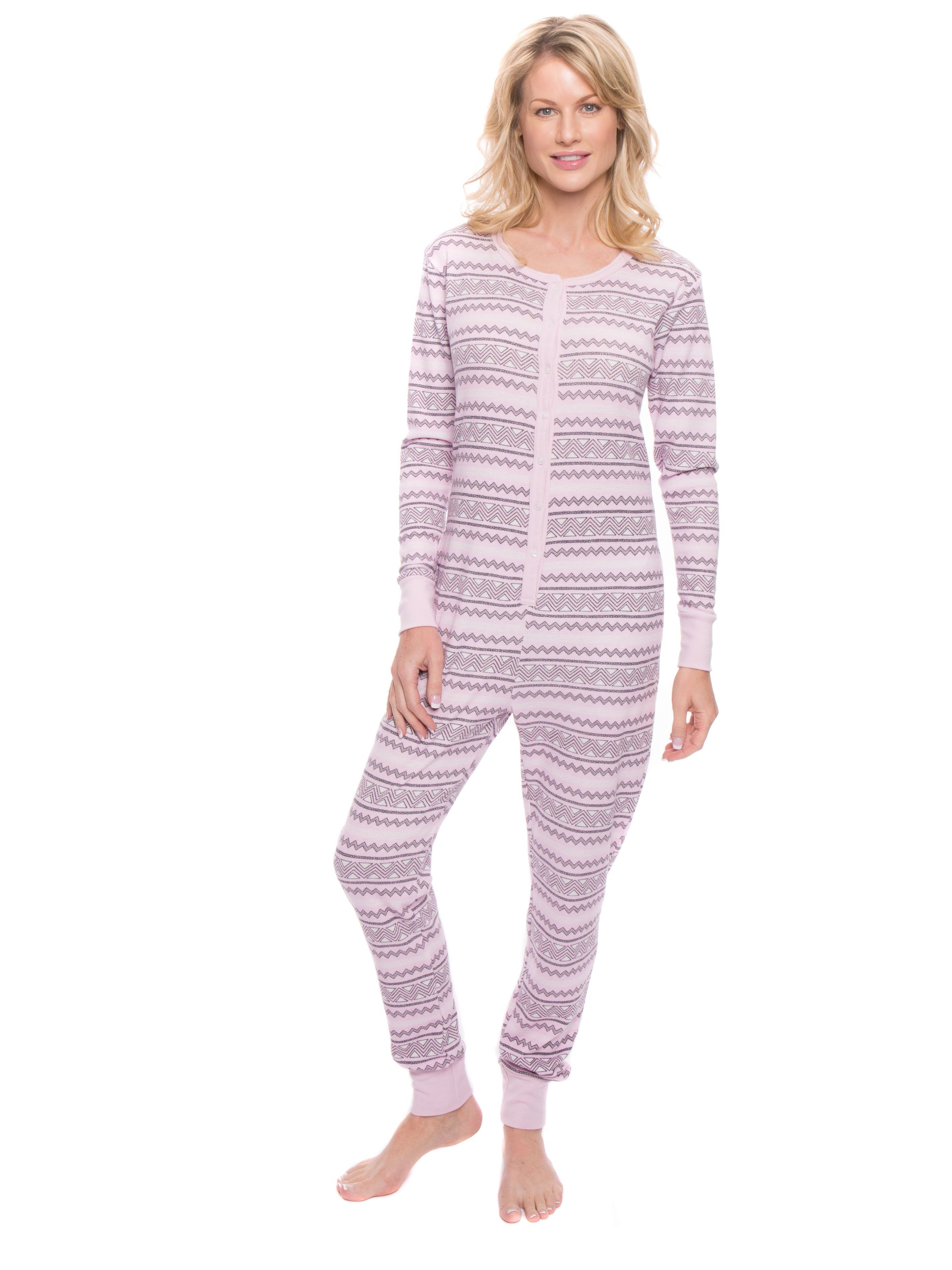 290161ff8a82 Women s Waffle Knit Thermal Onesie Pajama - Geo Nordic Lilac. Women