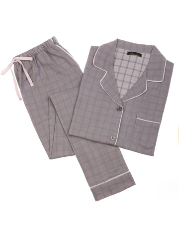 Womens Cotton Woven Double Layer Soft Pajama Set