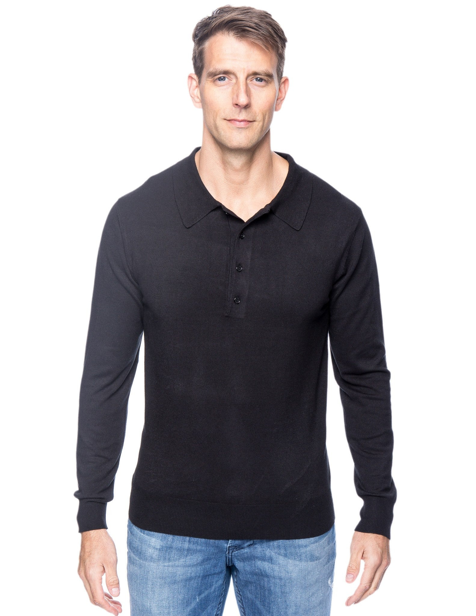Tocco Reale Men's Classic Knit Long Sleeve Polo Sweater