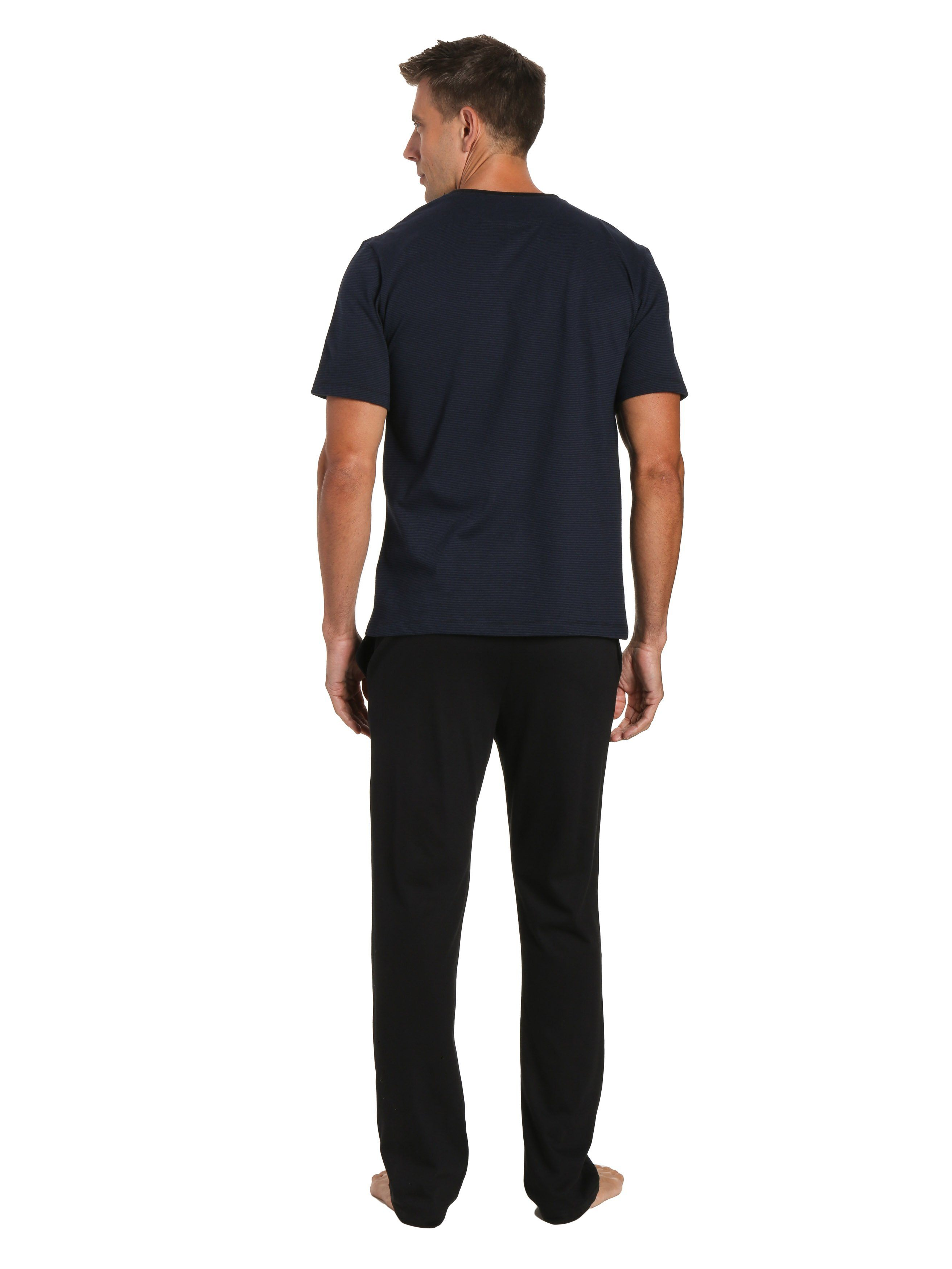 Black Pant with Stripe Navy Top