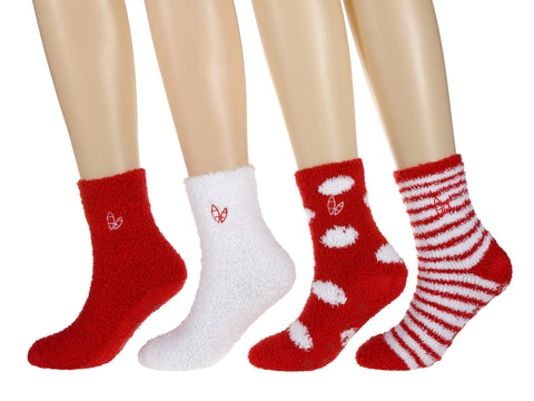 Women's (4 Pairs) Soft Anti-Skid Fuzzy Winter Crew Socks