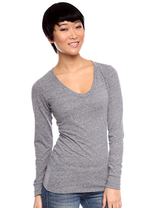 Royal Apparel Women's Triblend Long Sleeve V-Neck - Graphic Comfort  - 1