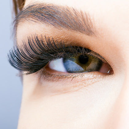 Picture of a women with long eyelashes.