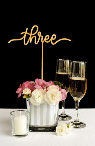 Wedding Table Numbers for Centerpieces - Honey & Crisp