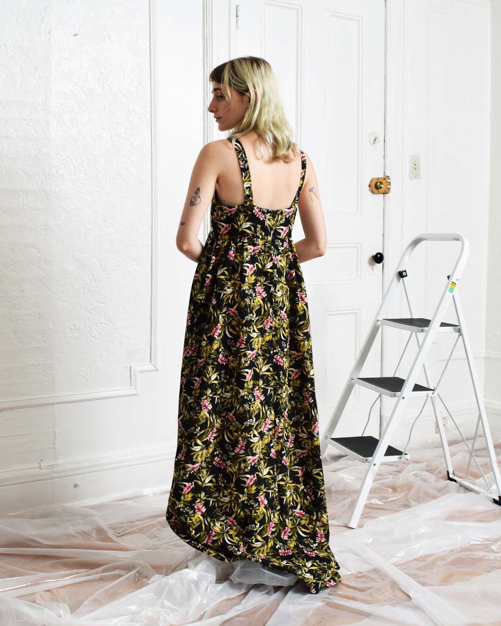 Vintage Cut-Out Maxi Dress