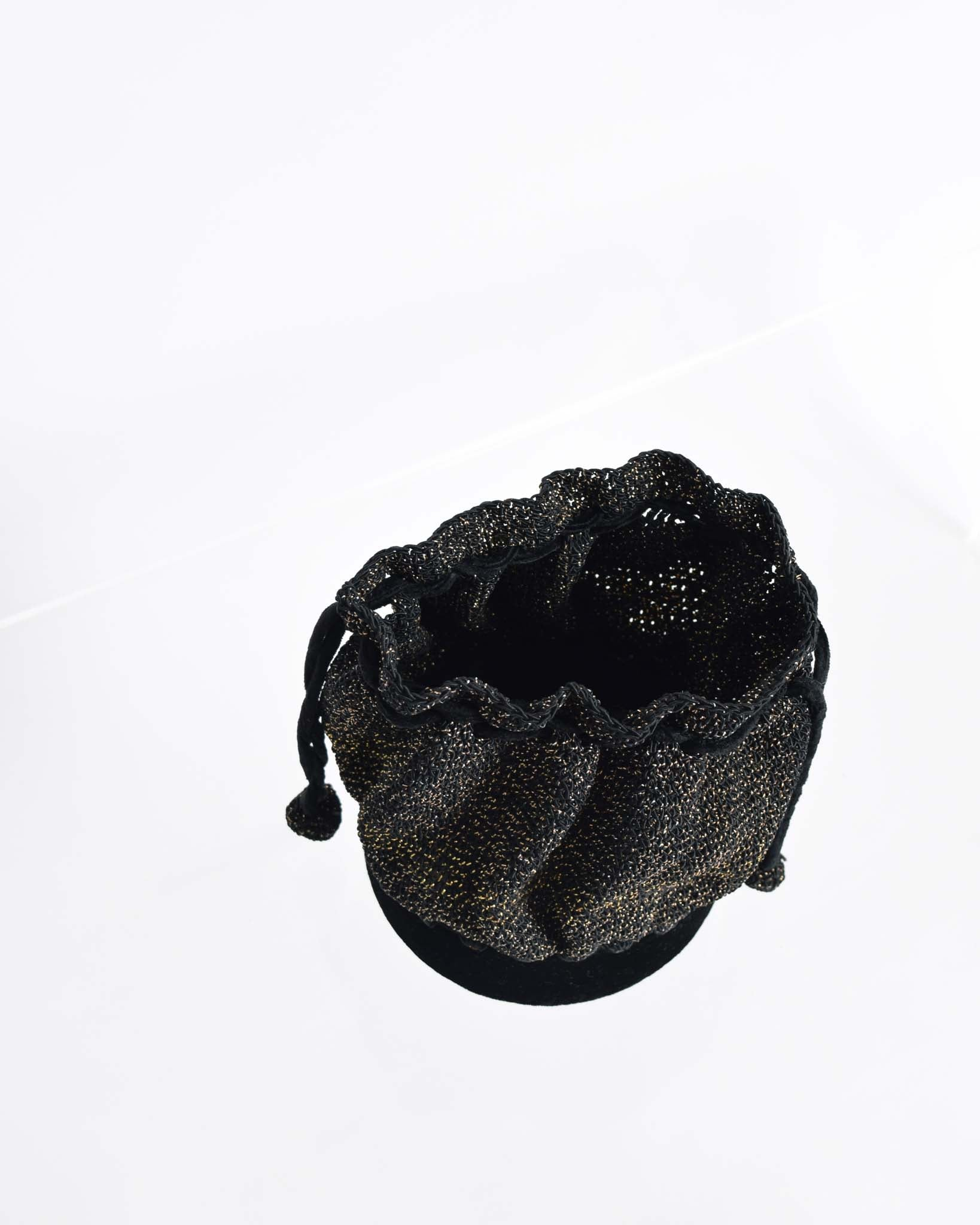 Vintage 1930s Black Crochet Pouch Purse