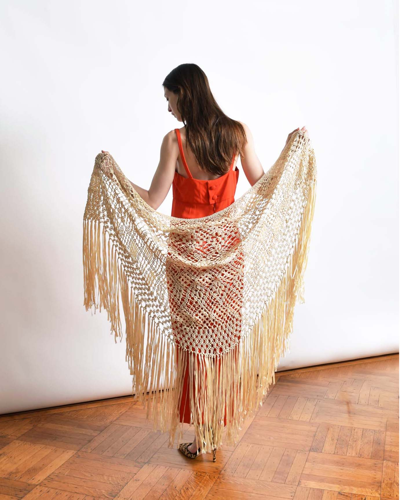 Vintage 1930s Ribbon Crochet Shawl