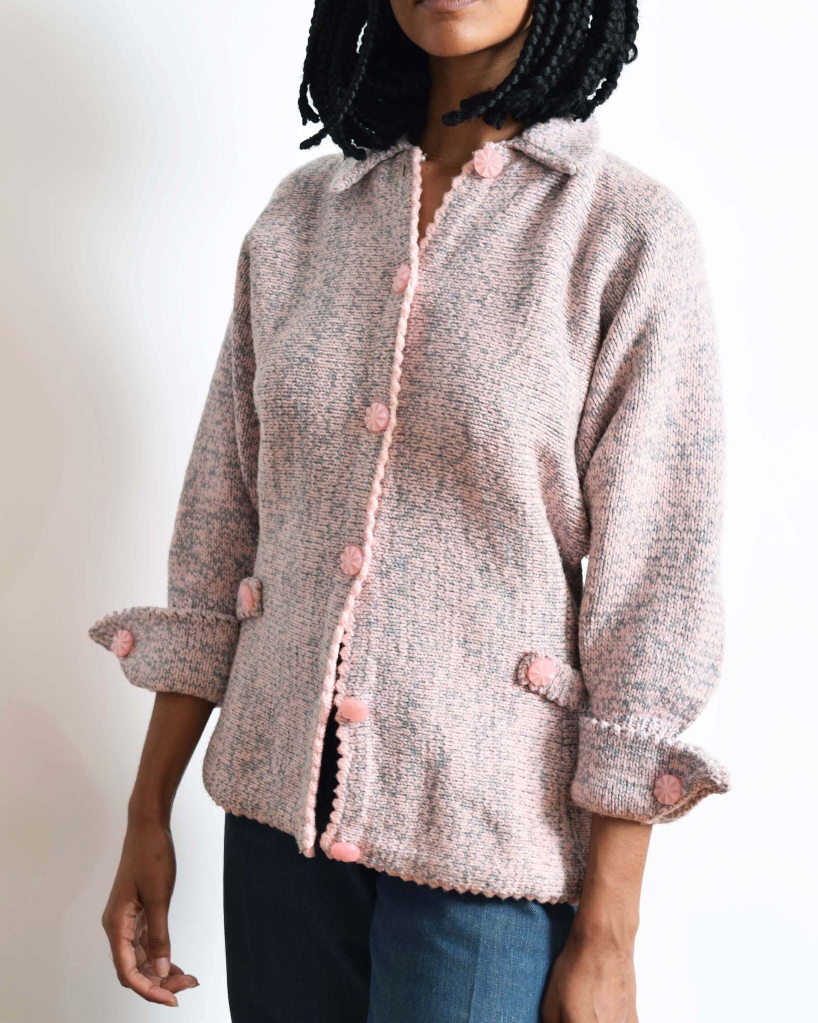 Vintage 1940s Hand Knit Cardigan