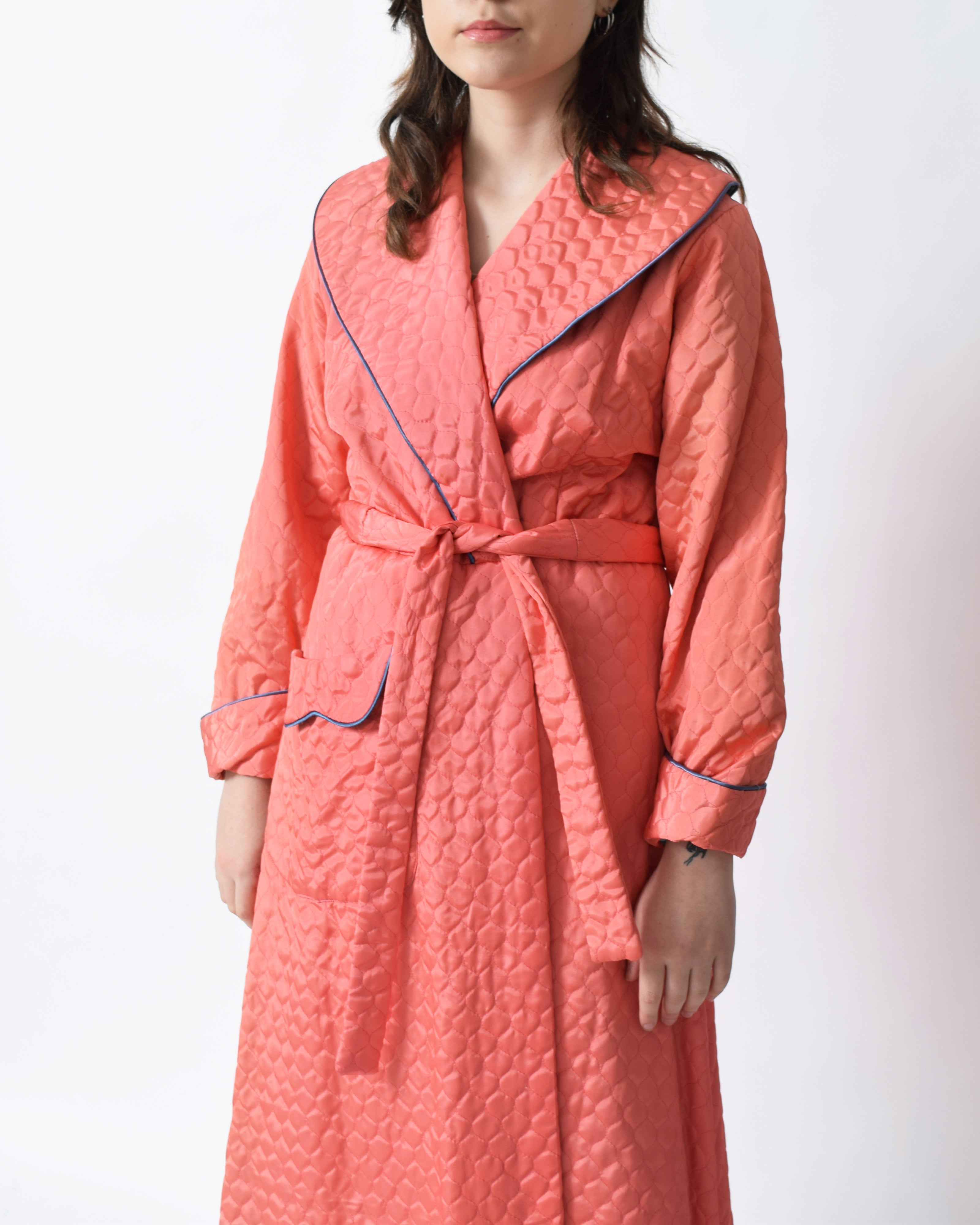 Vintage 1940s Quilted Robe Coat