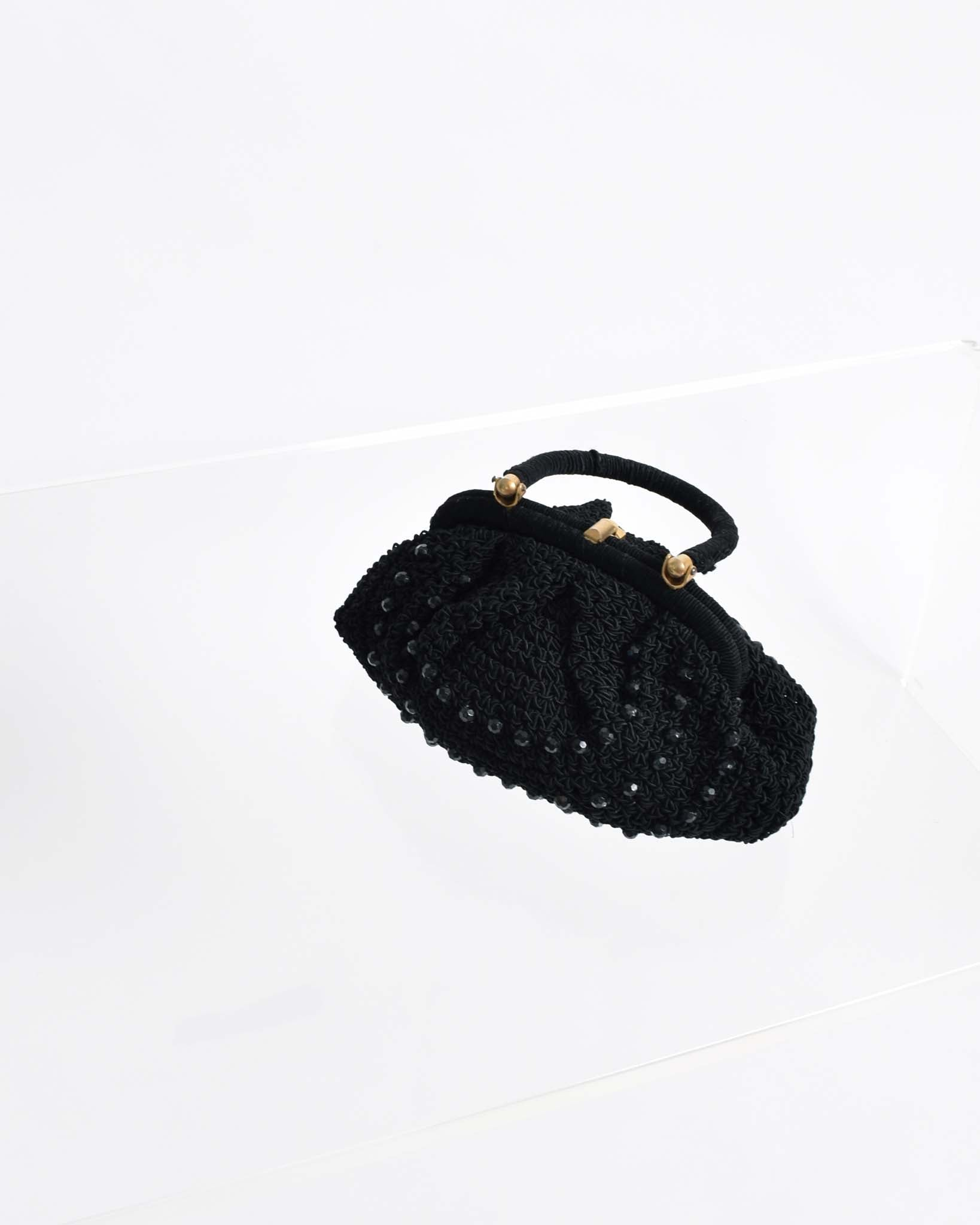 Vintage 1950s Beaded Crochet Handbag