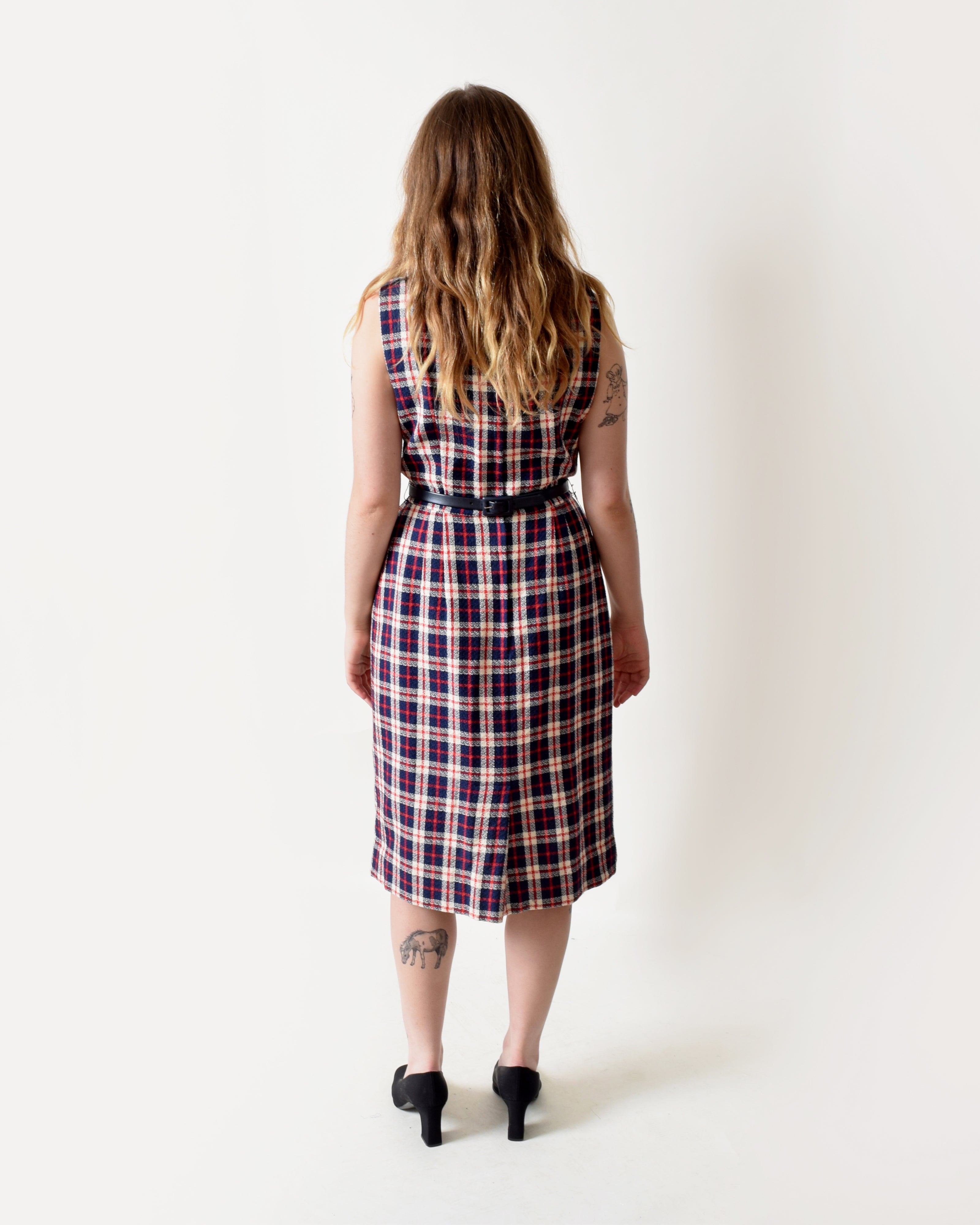 Vintage 1950s Plaid Wiggle Dress