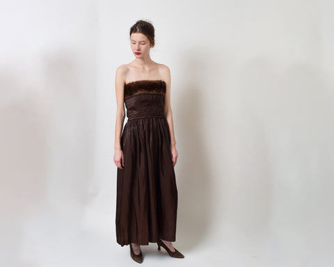 Vintage 1950s Mink Trim Party Dress