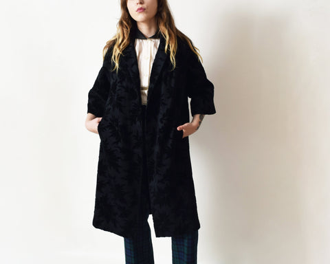 Vintage 1960s Black Tapestry Coat
