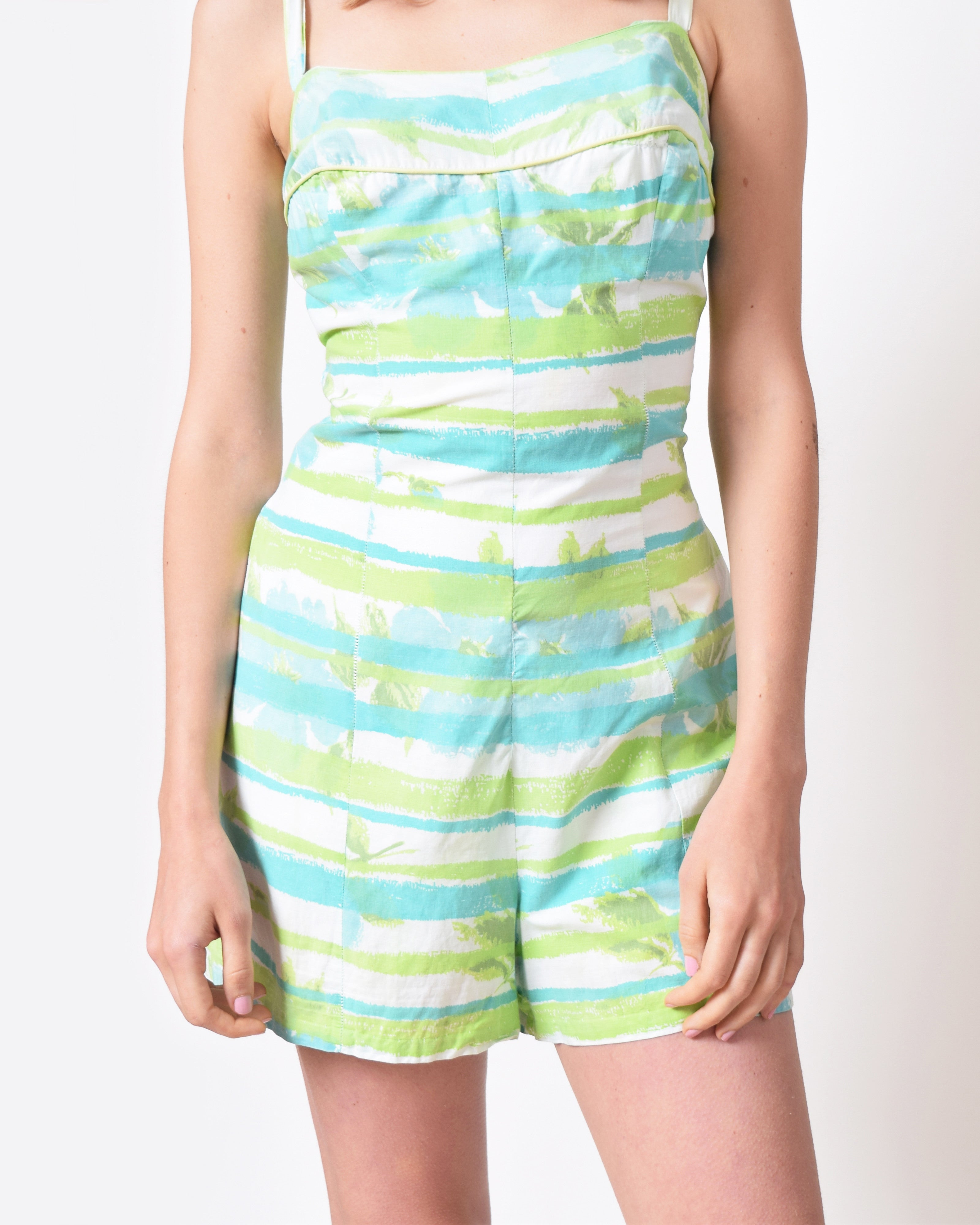 Vintage 1950s Green Striped Playsuit