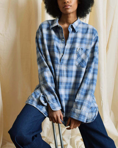 Vintage 1950s Blue Plaid Grandfather Shirt