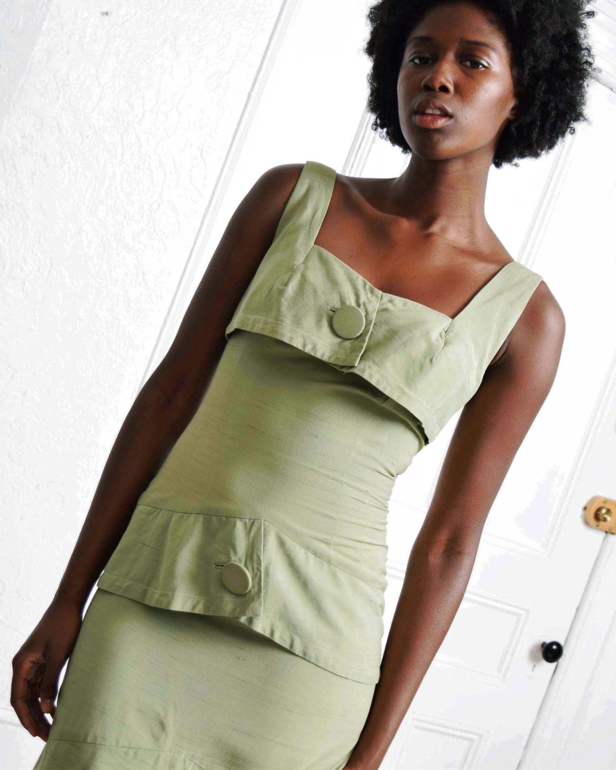 Vintage Sage Sheath Dress