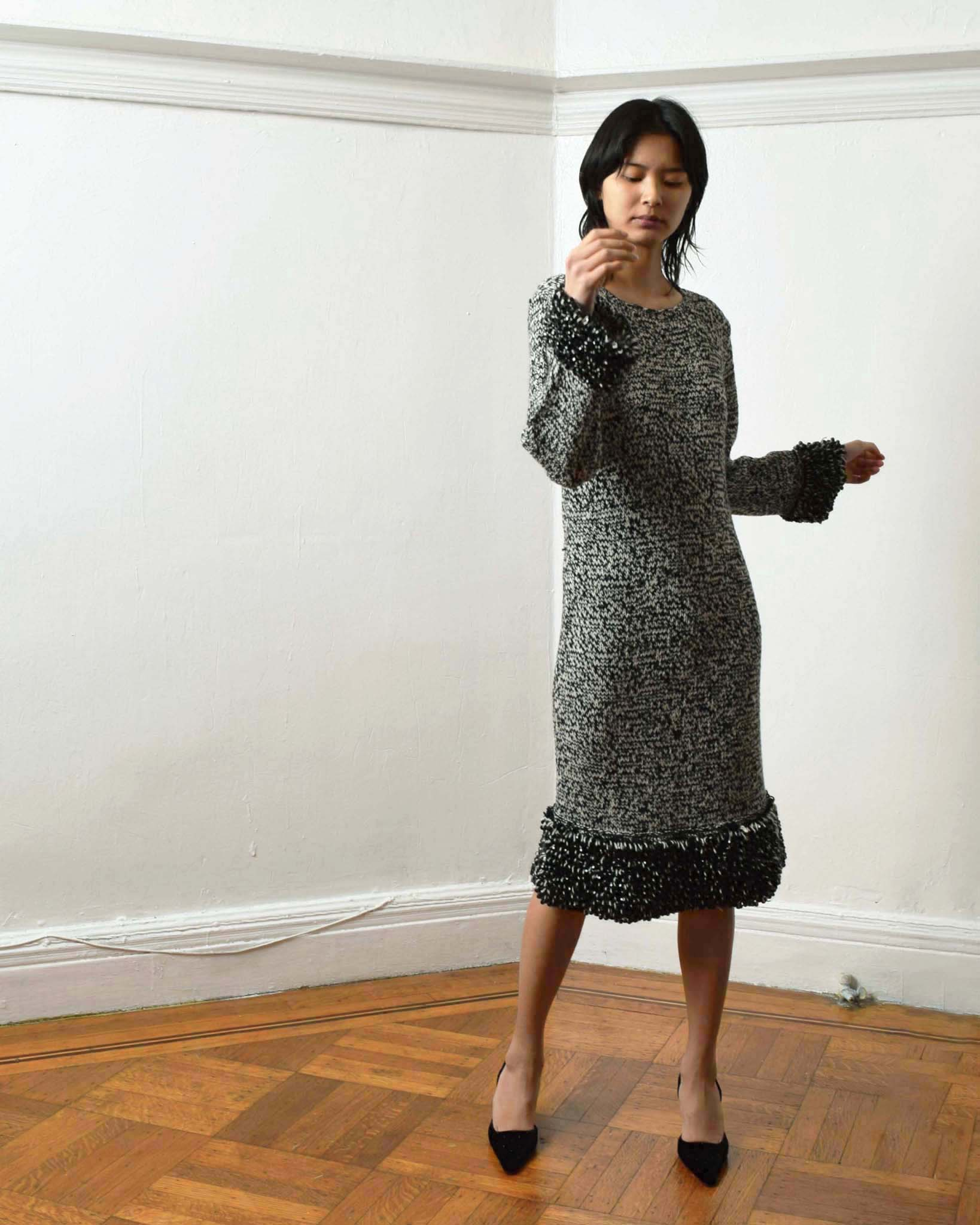 Vintage 1960s Beaded Sweater Dress