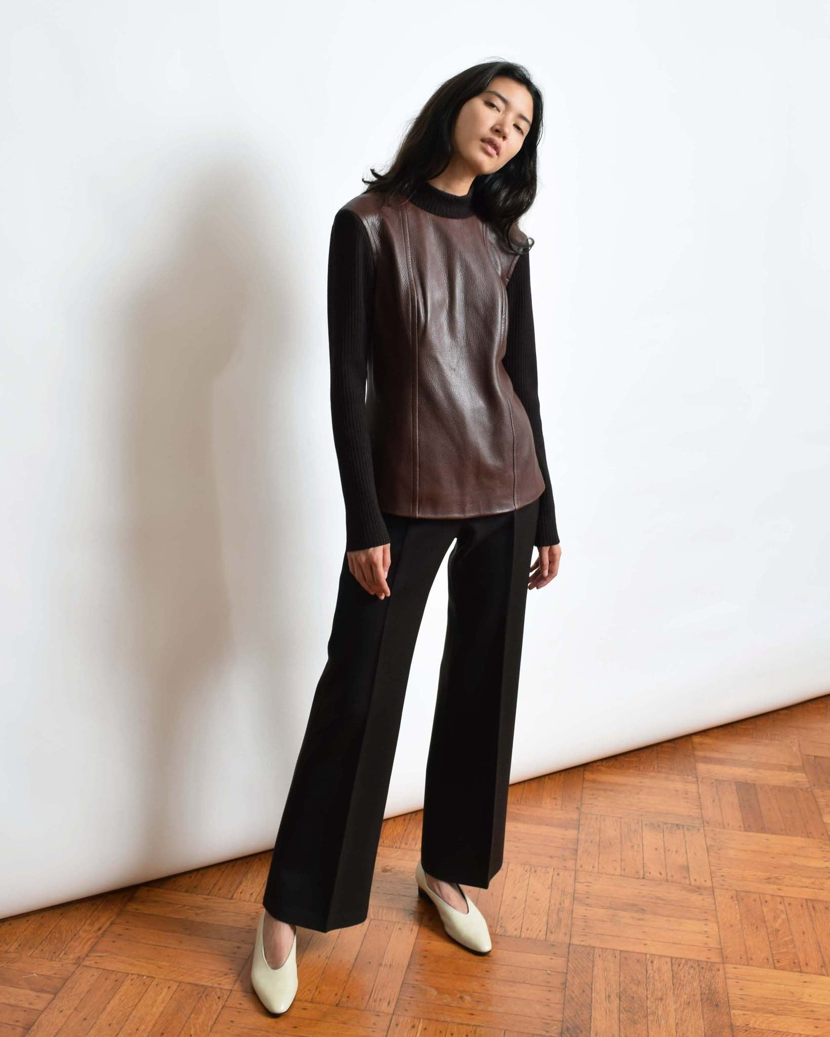 Vintage 1960s Brown Leather Top