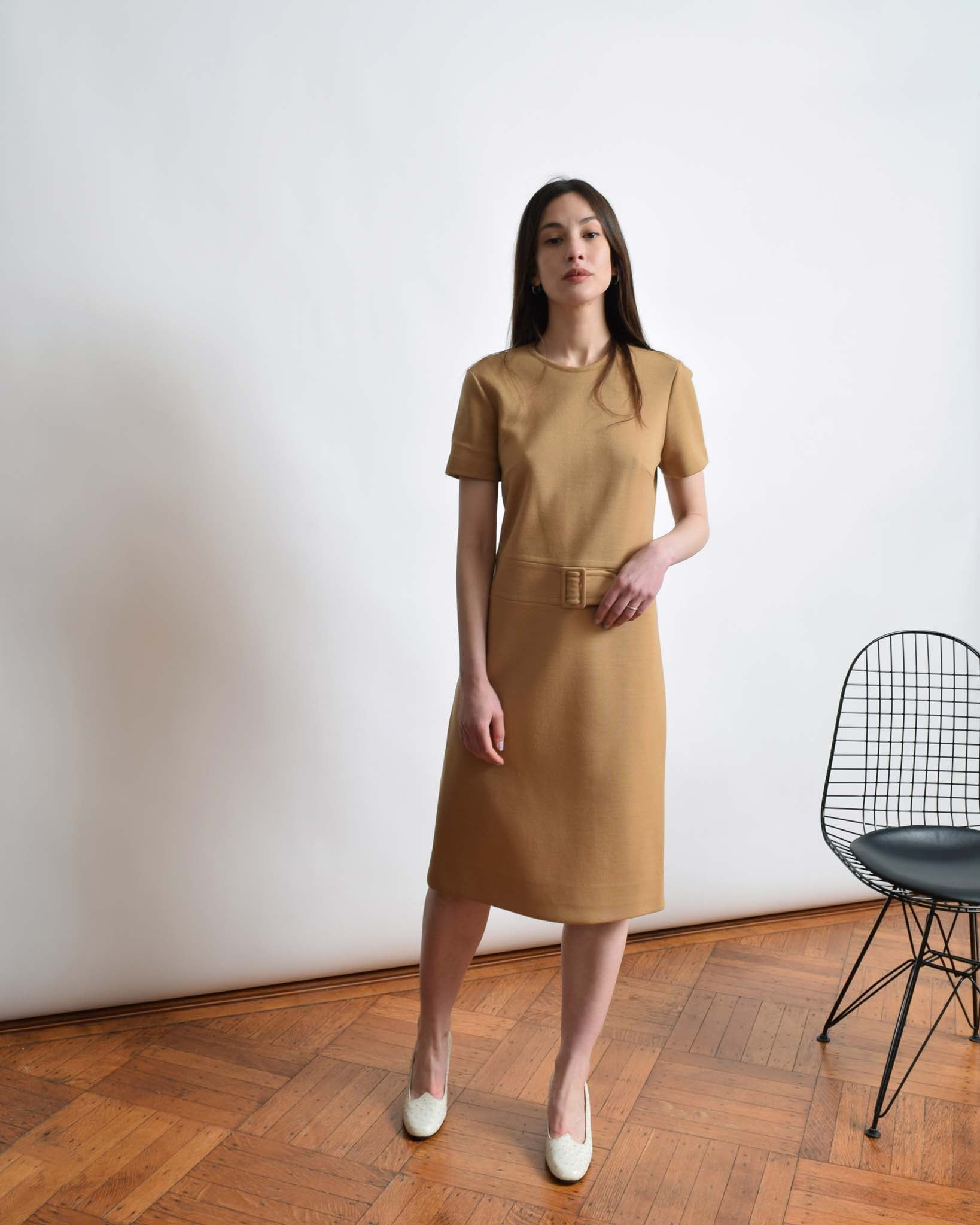 Vintage 1960s Camel Sheath Dress
