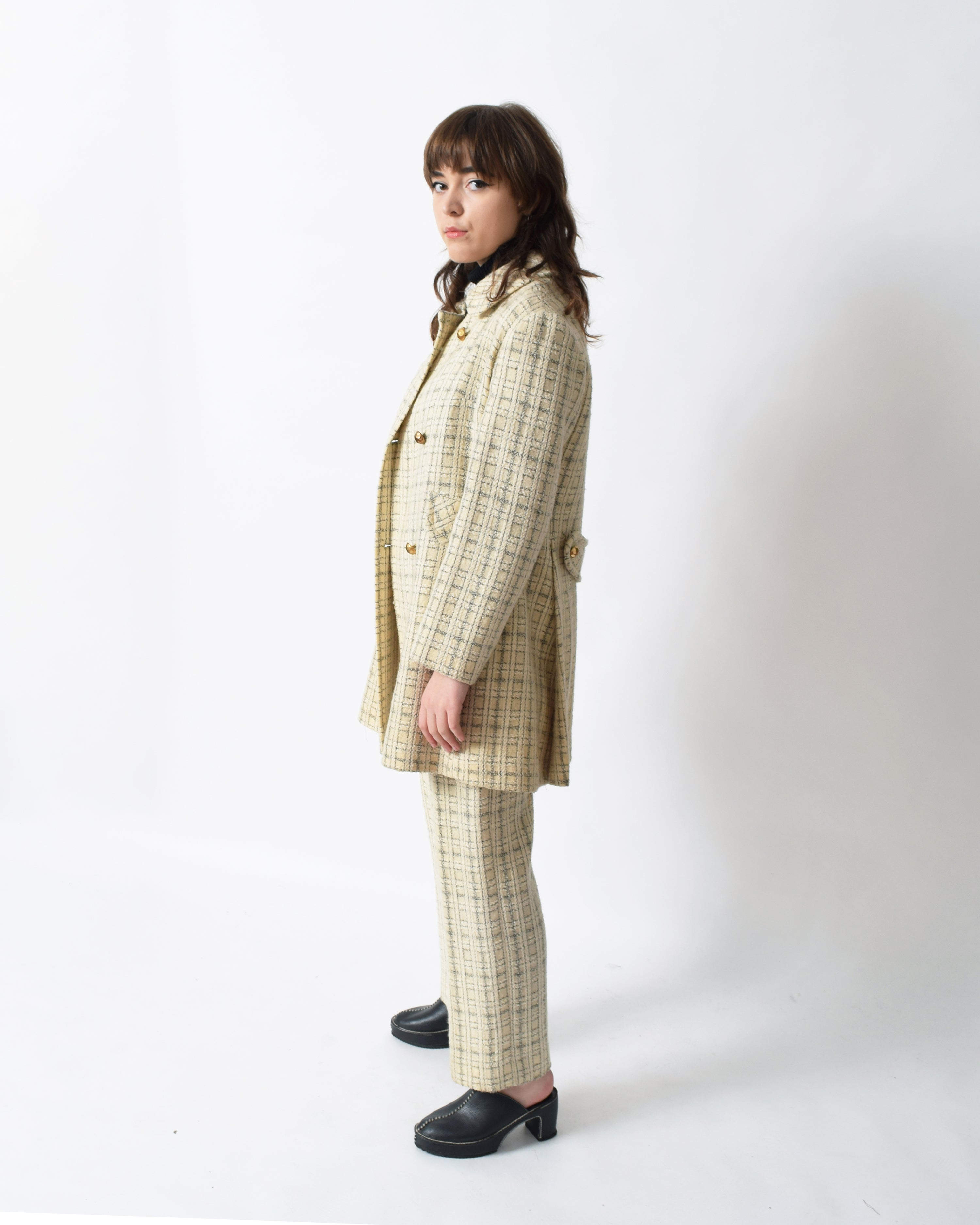 Vintage 1960s Plaid Wool Pants Suit