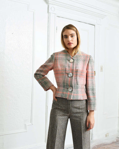 Vintage 1960s Pink Plaid Jacket