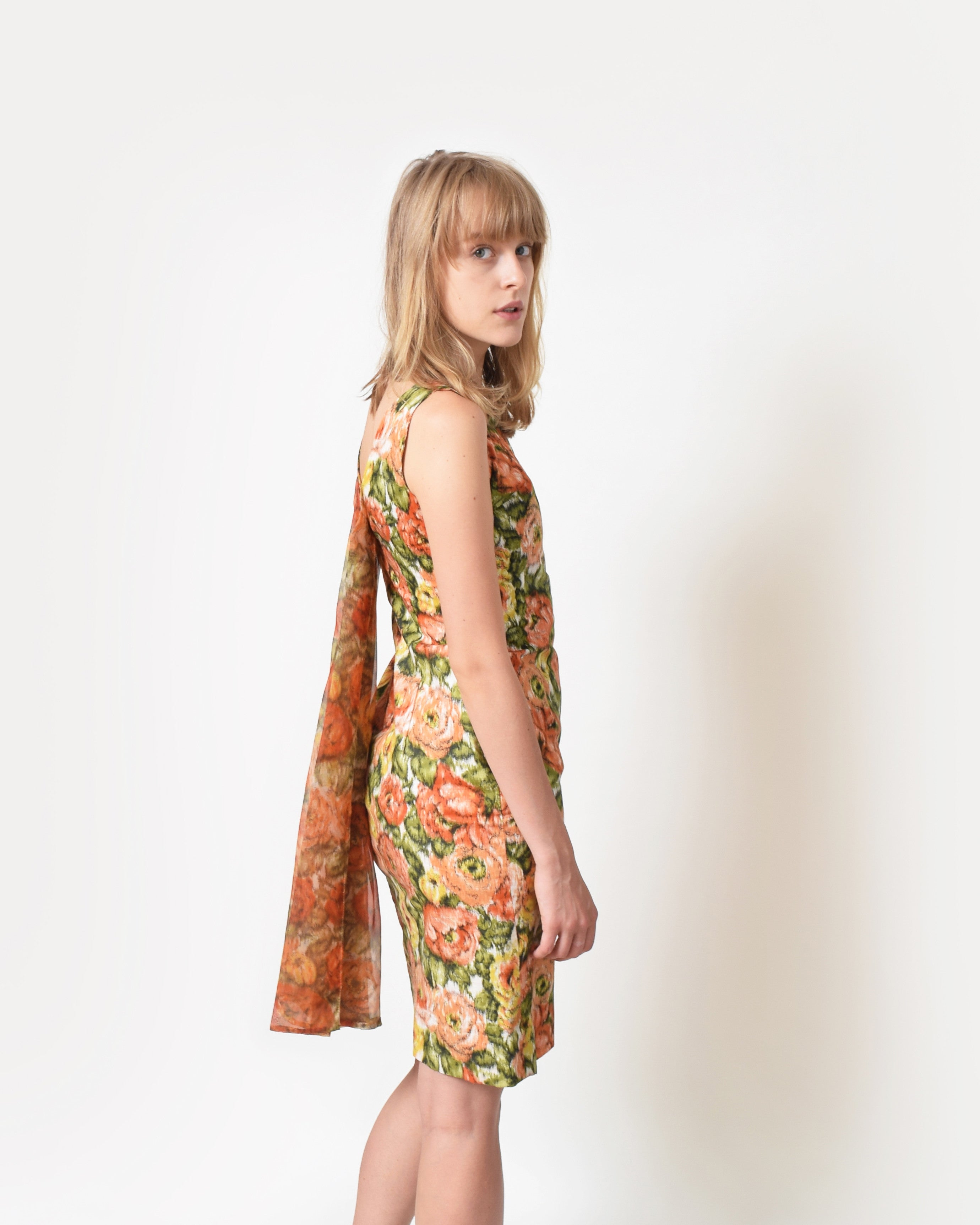 VIntage Draped Back Floral Dress