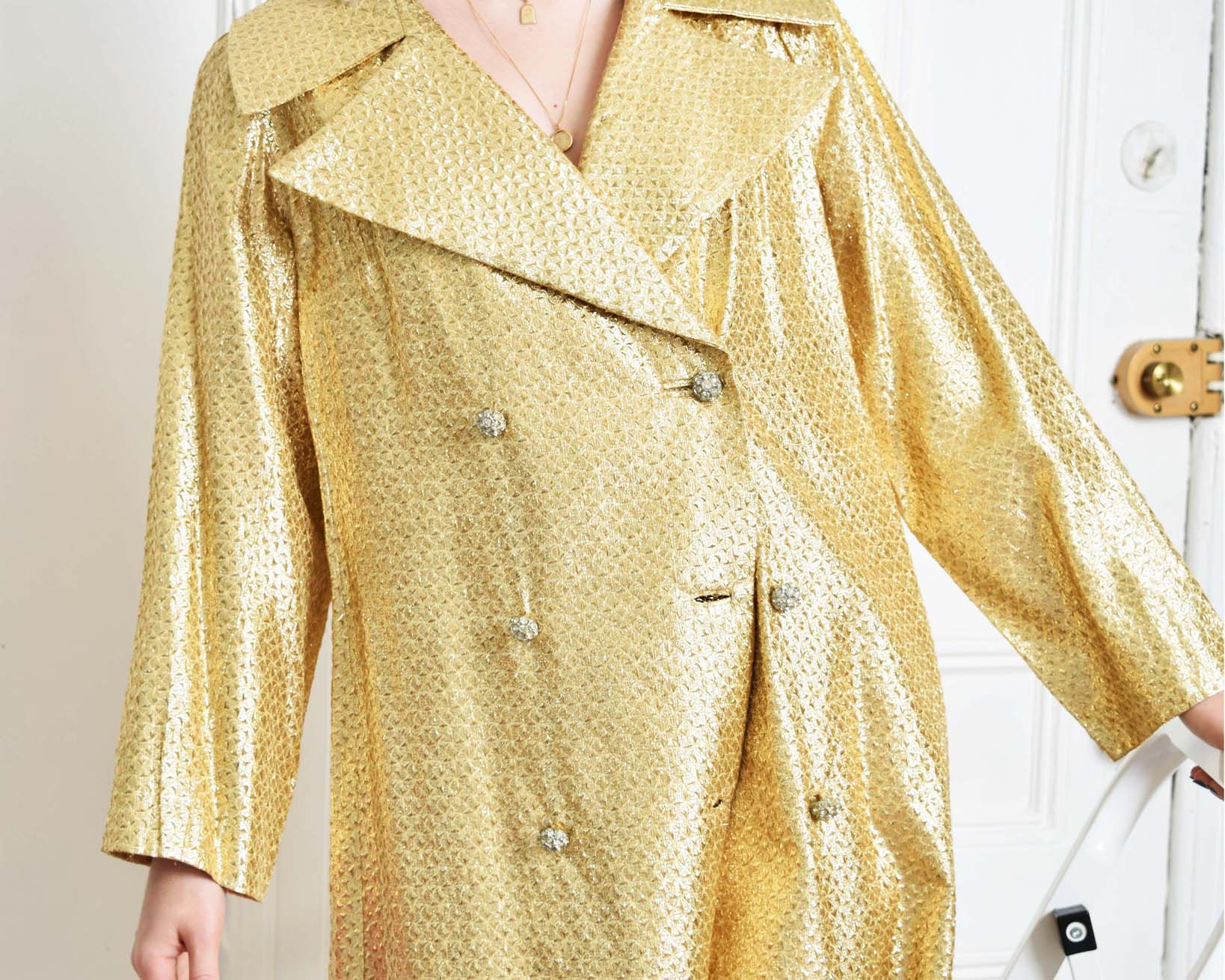 Vintage 1960s Metallic Trench Coat