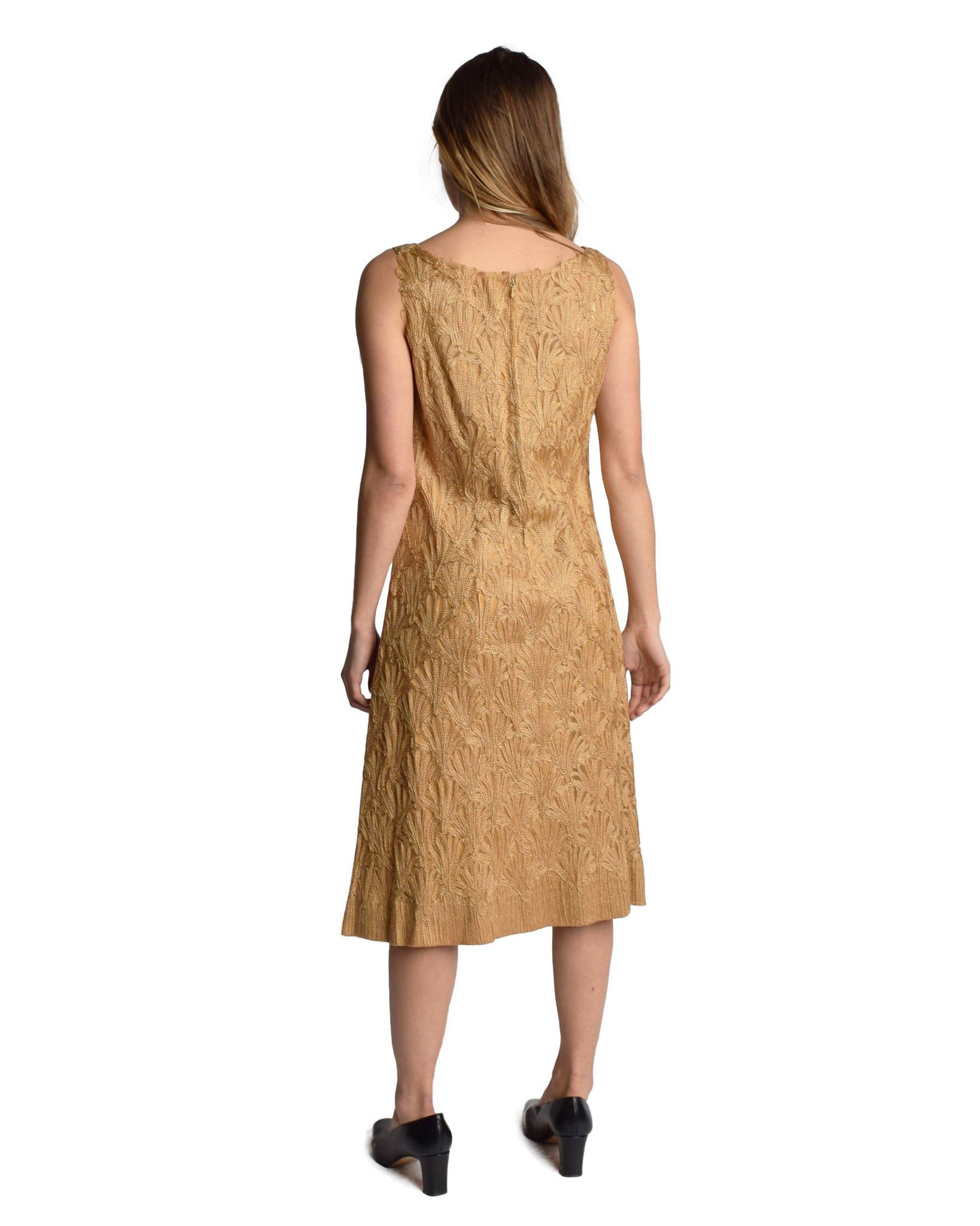 Vintage 1960s Gold Lace Sheath Dress