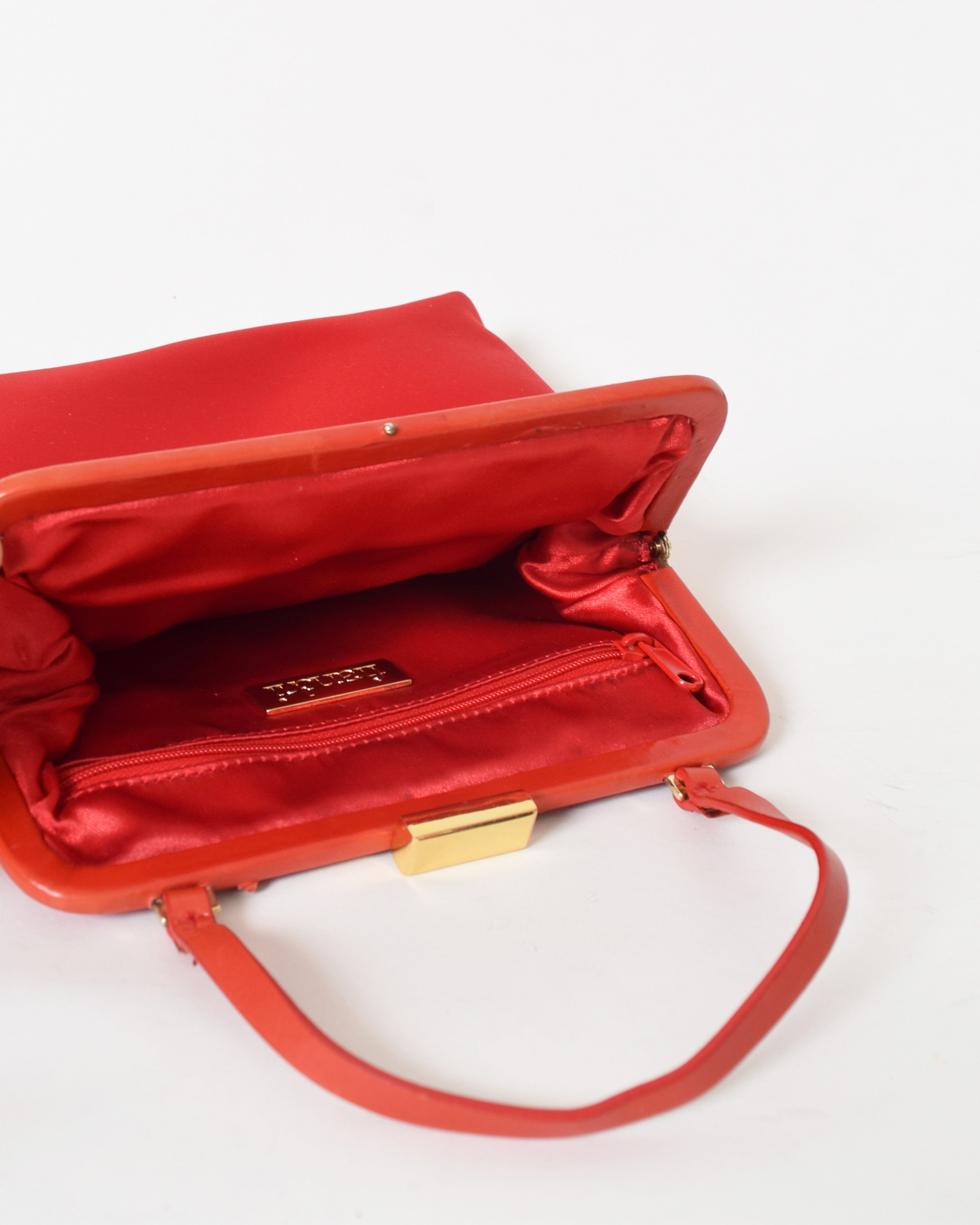 Vintage Red Satin Handbag
