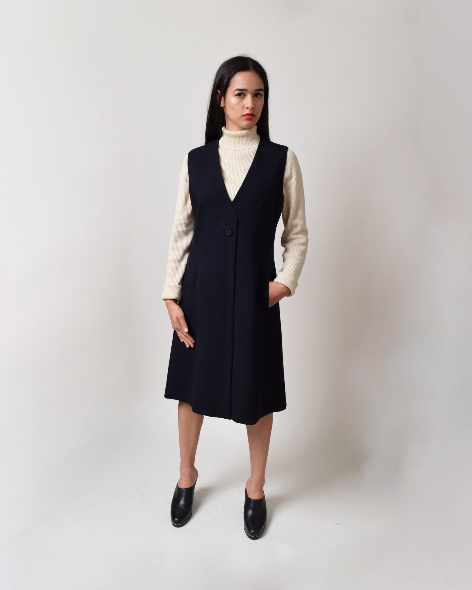 Vintage 1960s Navy Jumper Dress