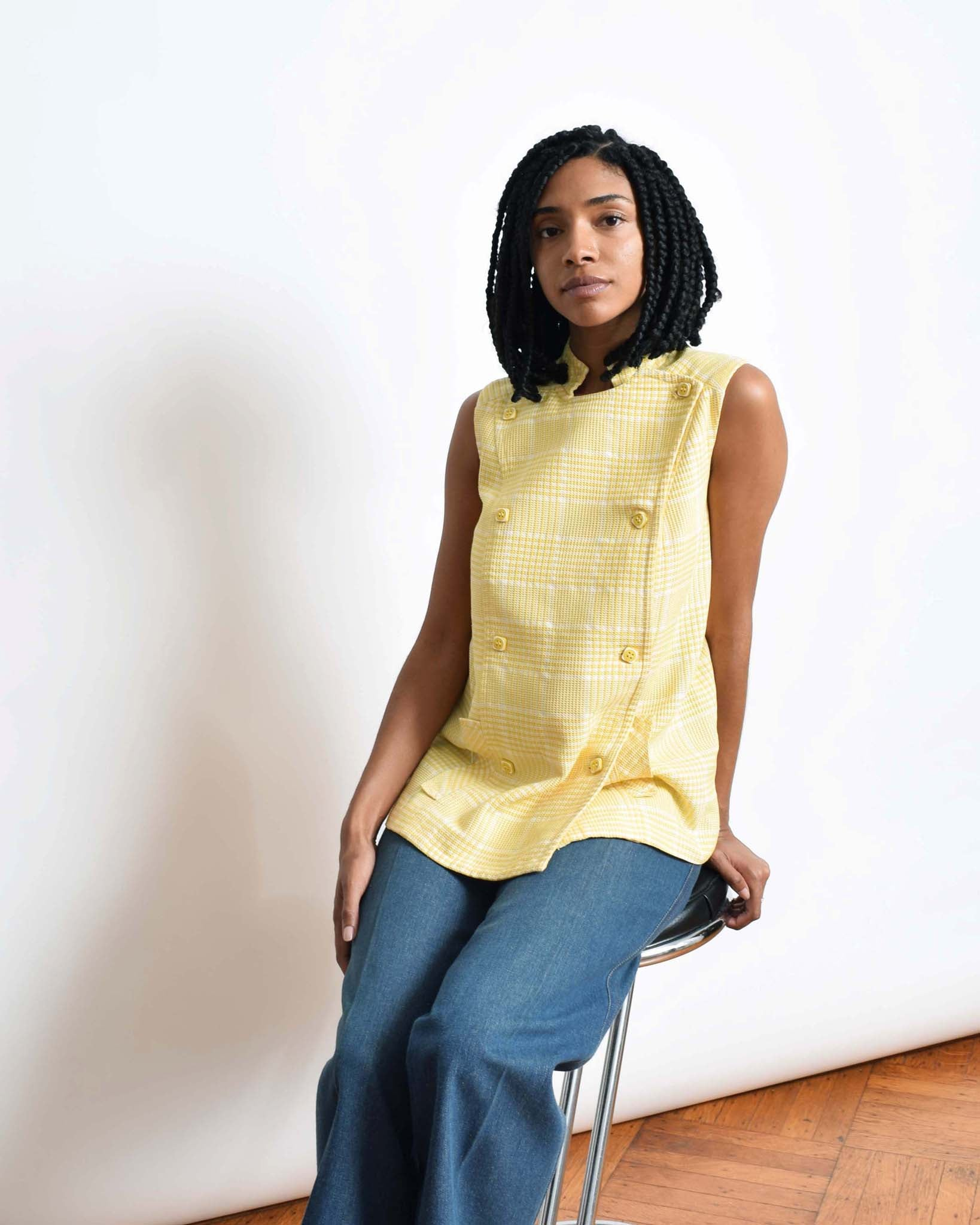 Vintage 1960s Yellow Check Top