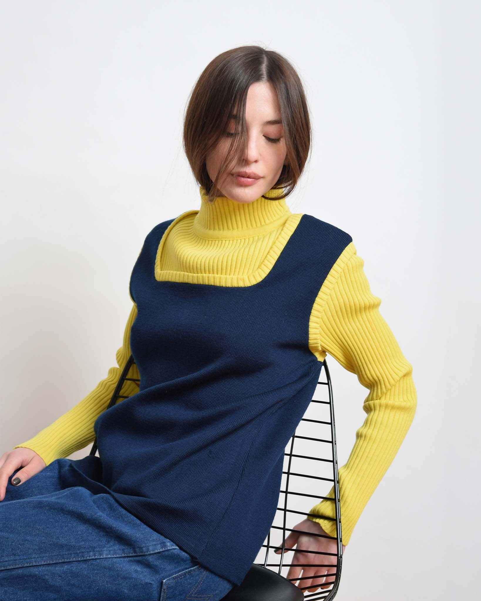 Vintage 1960s Bibbed Turtleneck Sweater