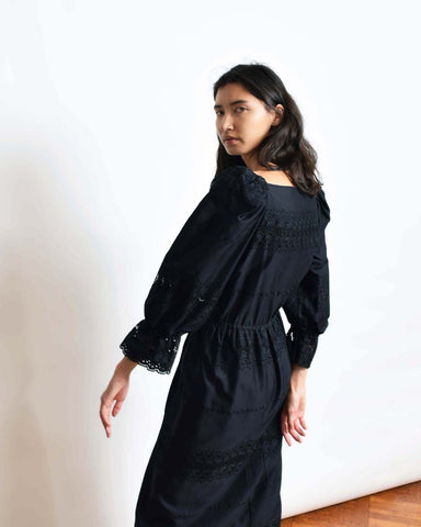 Vintage 1960s Black Cape Coat