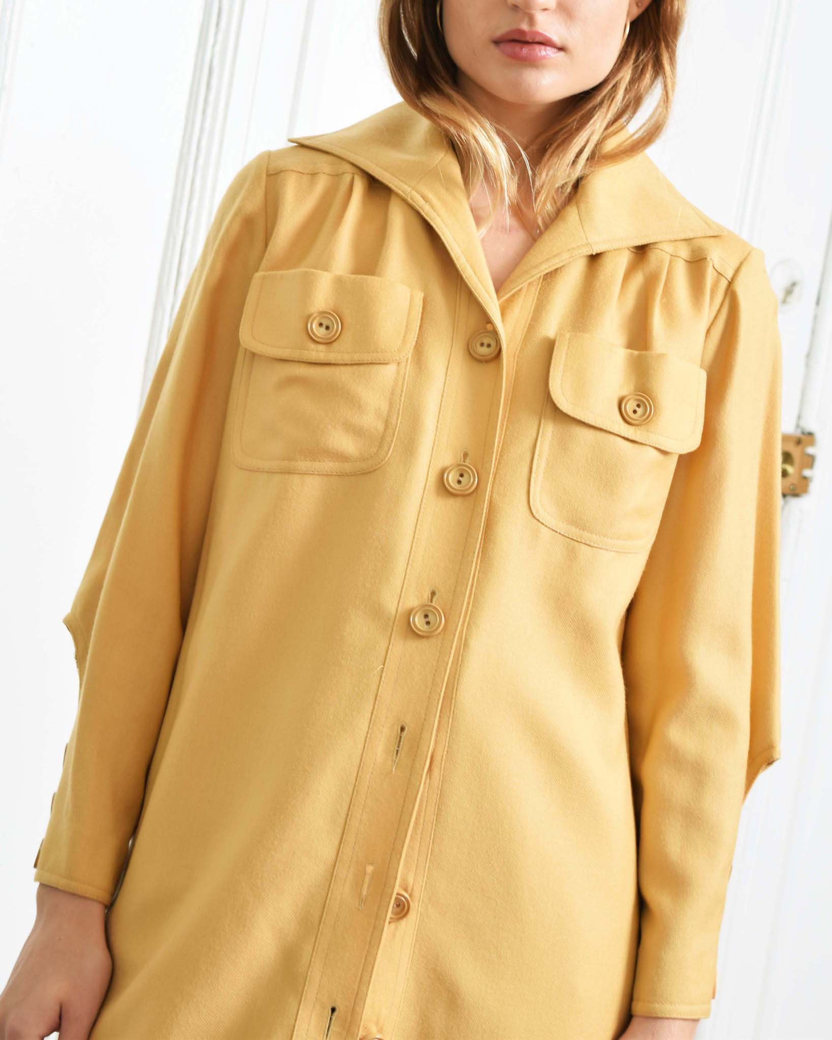 Vintage 1970s Camel Shirt Dress
