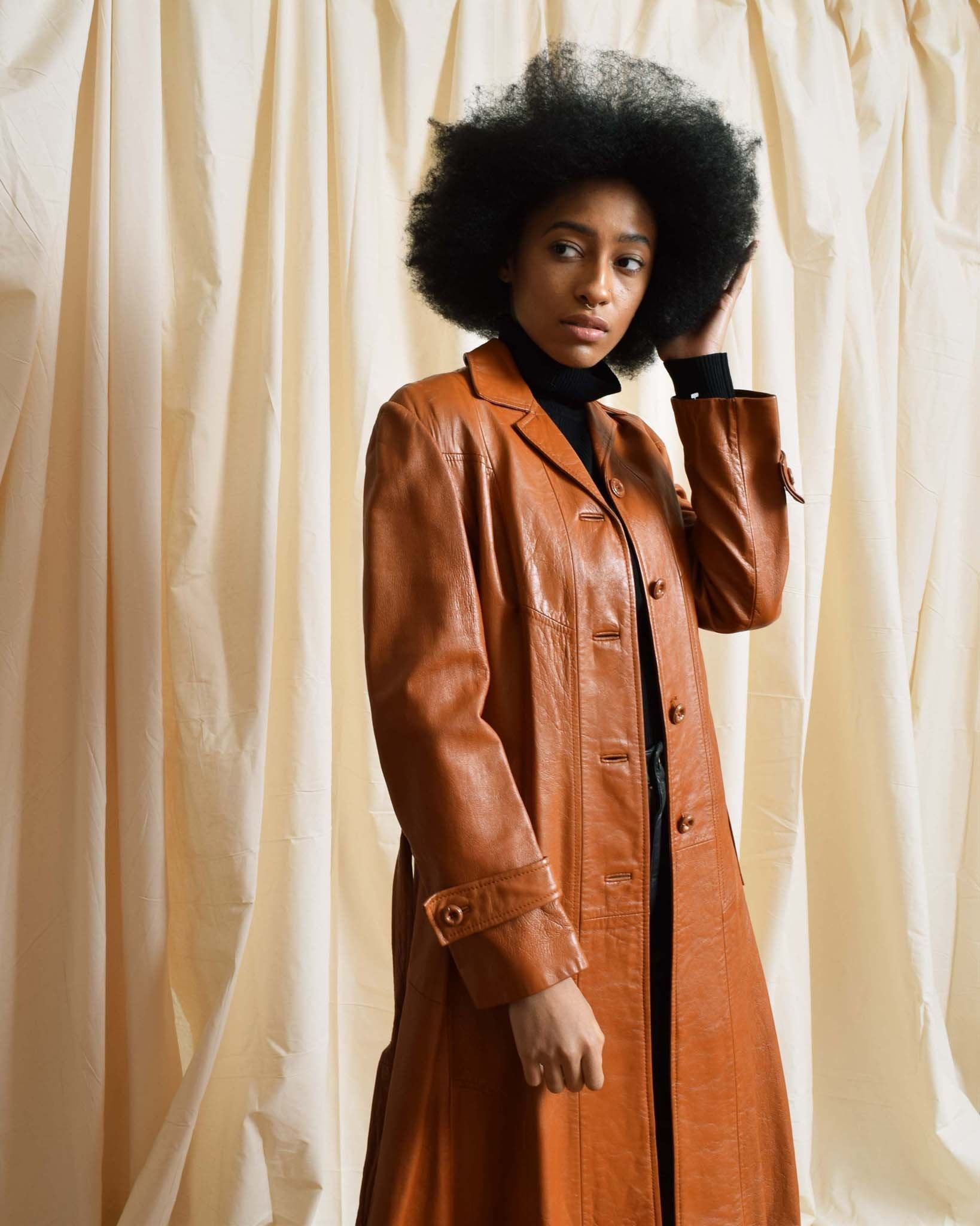 Vintage 1970s Caramel Leather Trench