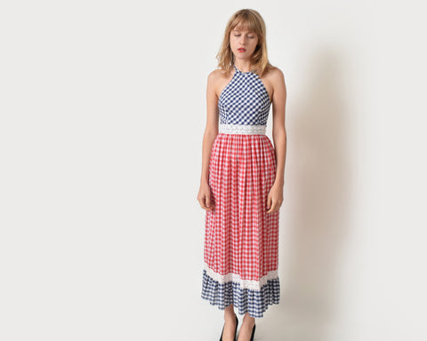 Vintage 1970s Gingham Halter Dress