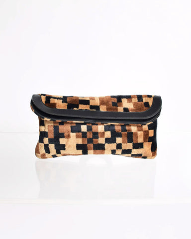 Vintage Pixelated Fabric Clutch