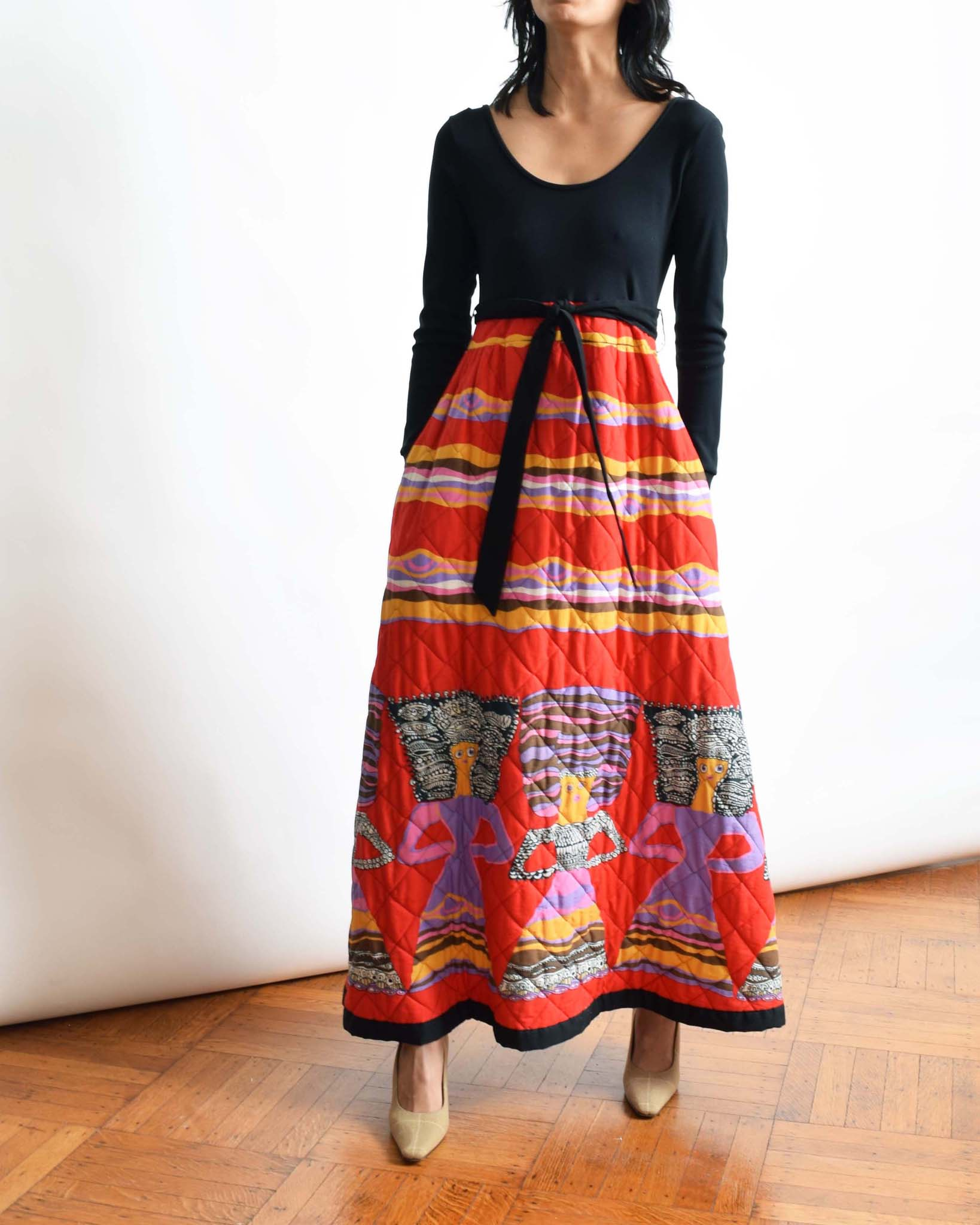 Vintage 1970s Quilted Dress