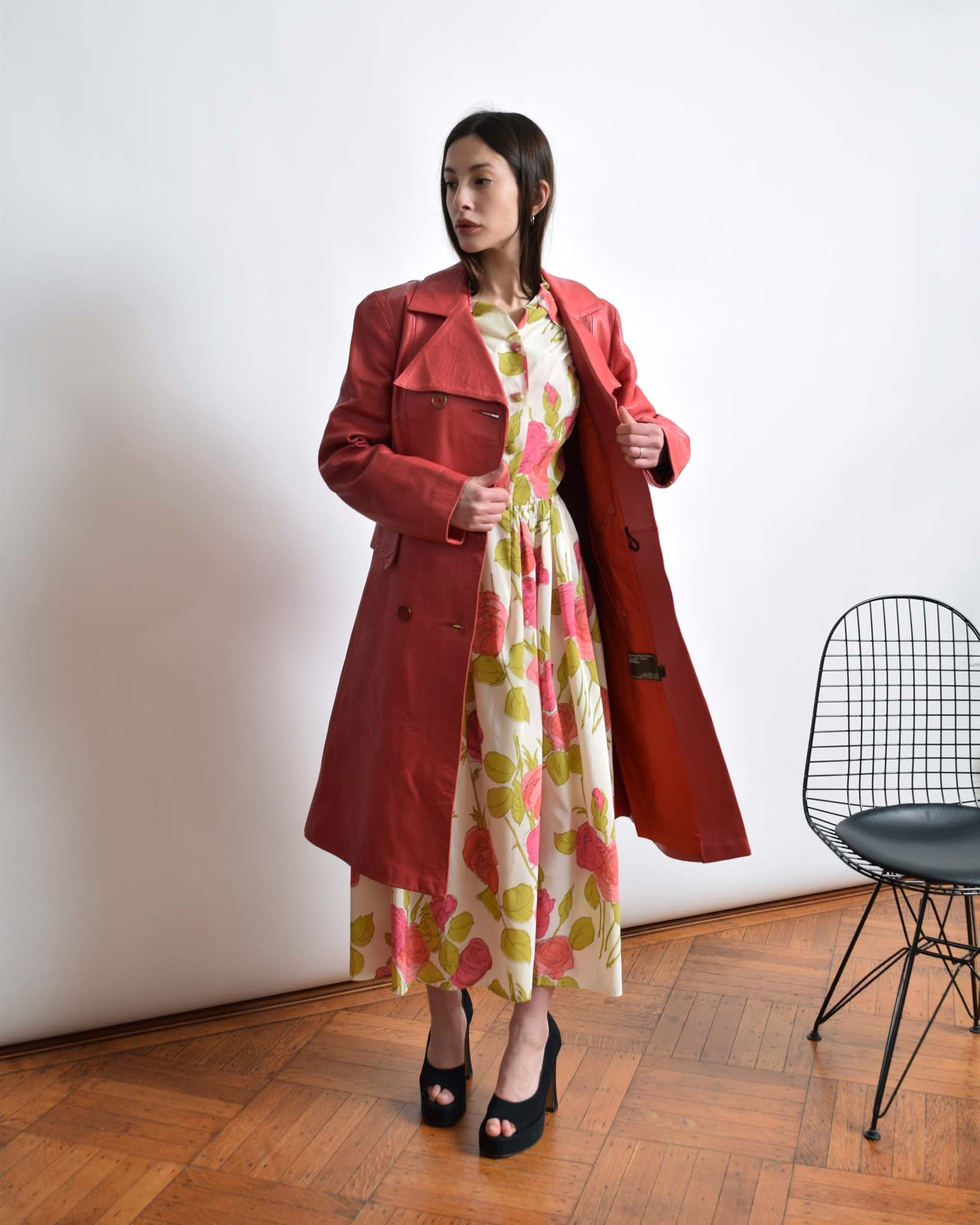 Vintage 1970s Pink Leather Trench
