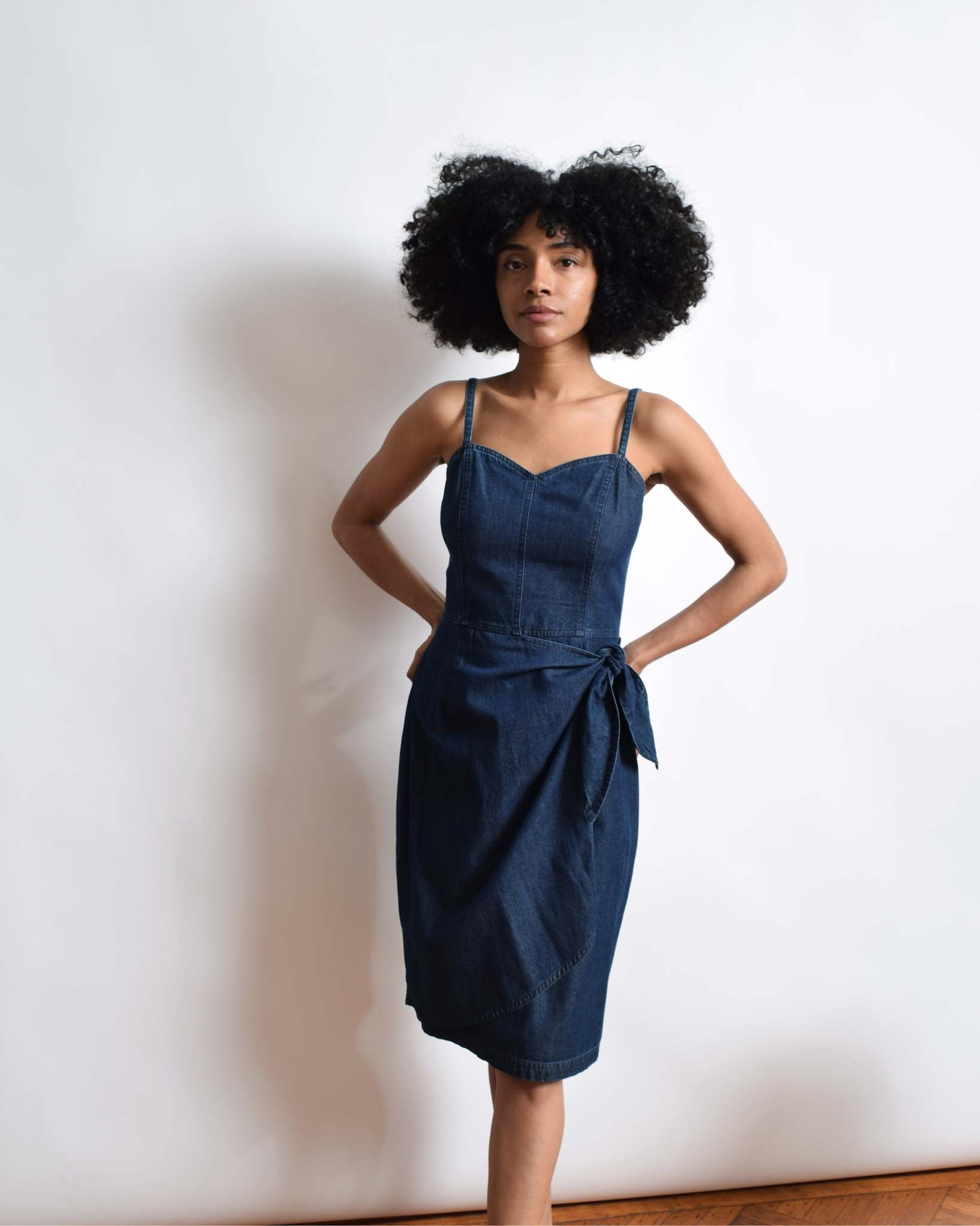 Vintage 1990s Denim Sweetheart Dress