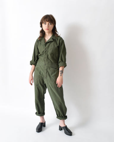 Vintage Dark Green Coveralls, Smaller Fit