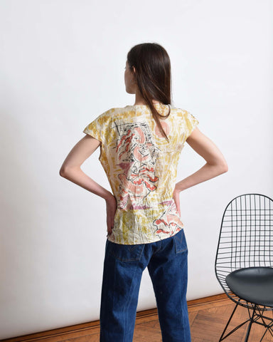 Vintage Abstract Crinkle Blouse