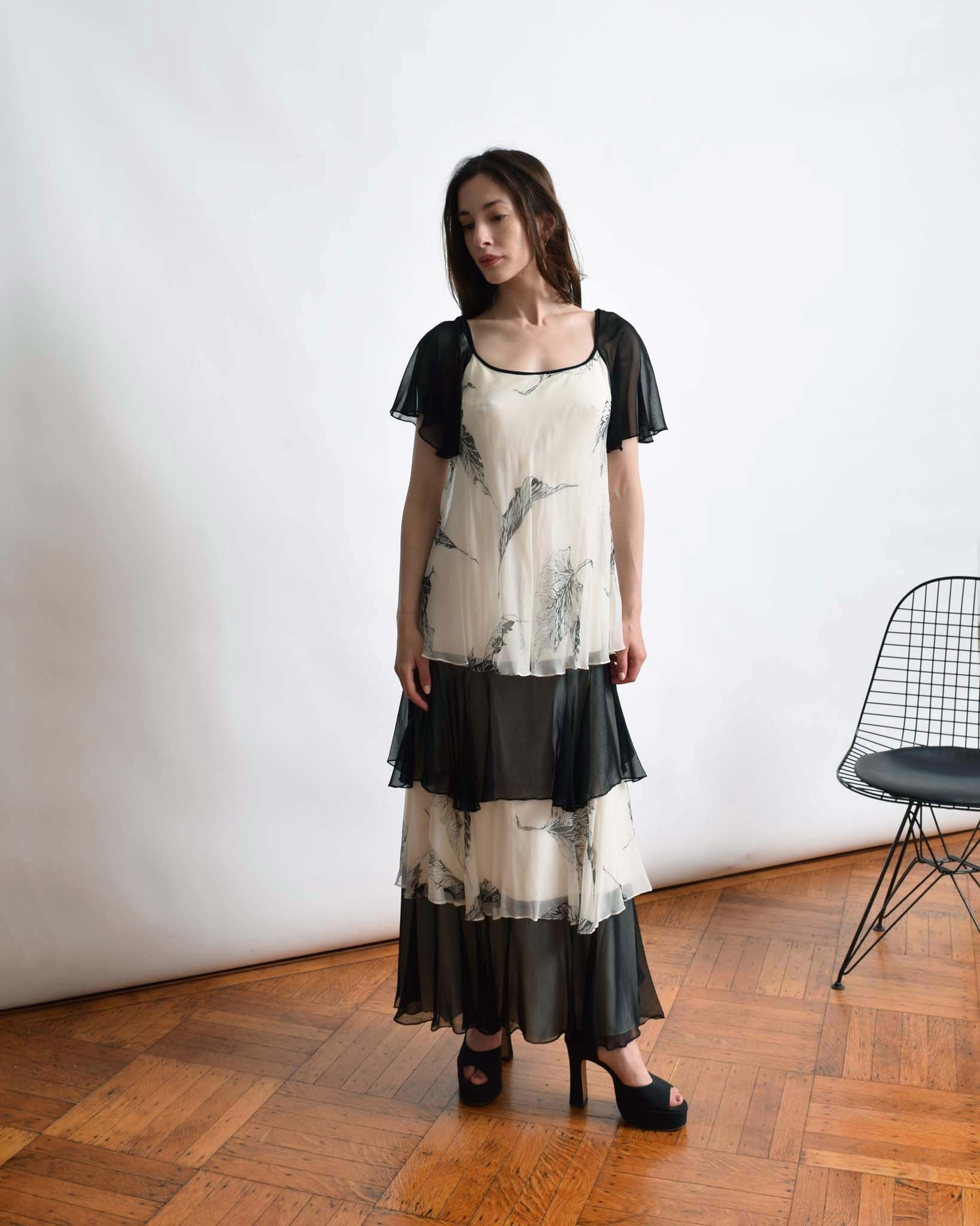 Vintage 1970s Tiered Silk Chiffon Dress