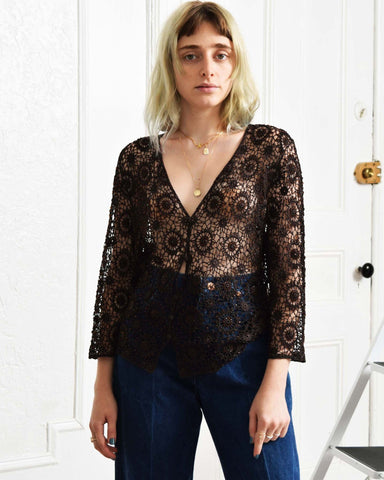 Vintage Beaded Crochet Top
