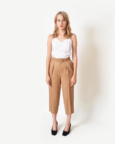 Vintage Cropped Khaki Trousers