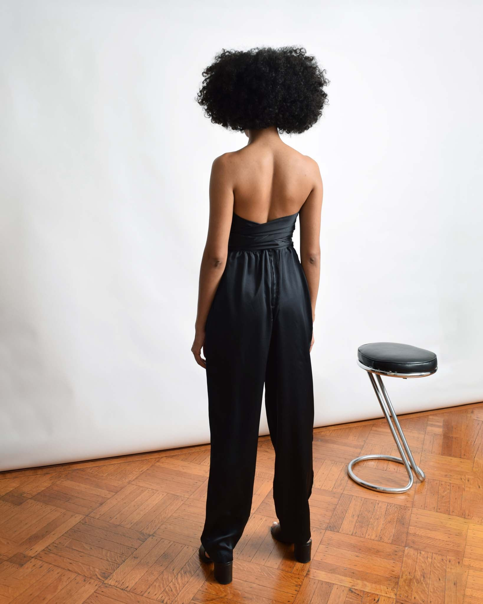 Vintage Black Strapless Jumpsuit