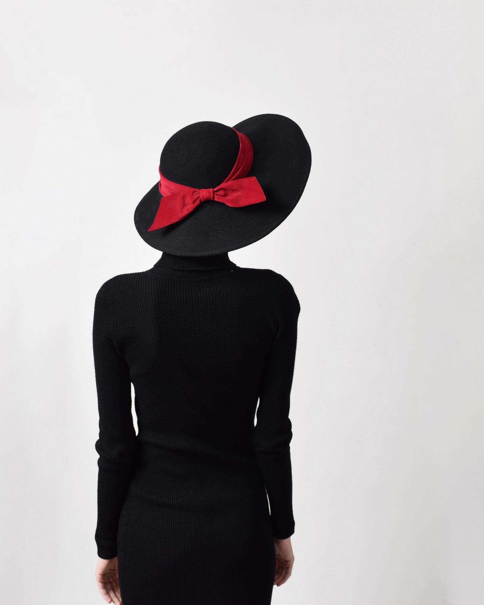 Vintage Black Wool Hat with Red Suede Ribbon