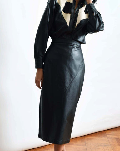 Vintage Black Leather Midi Skirt
