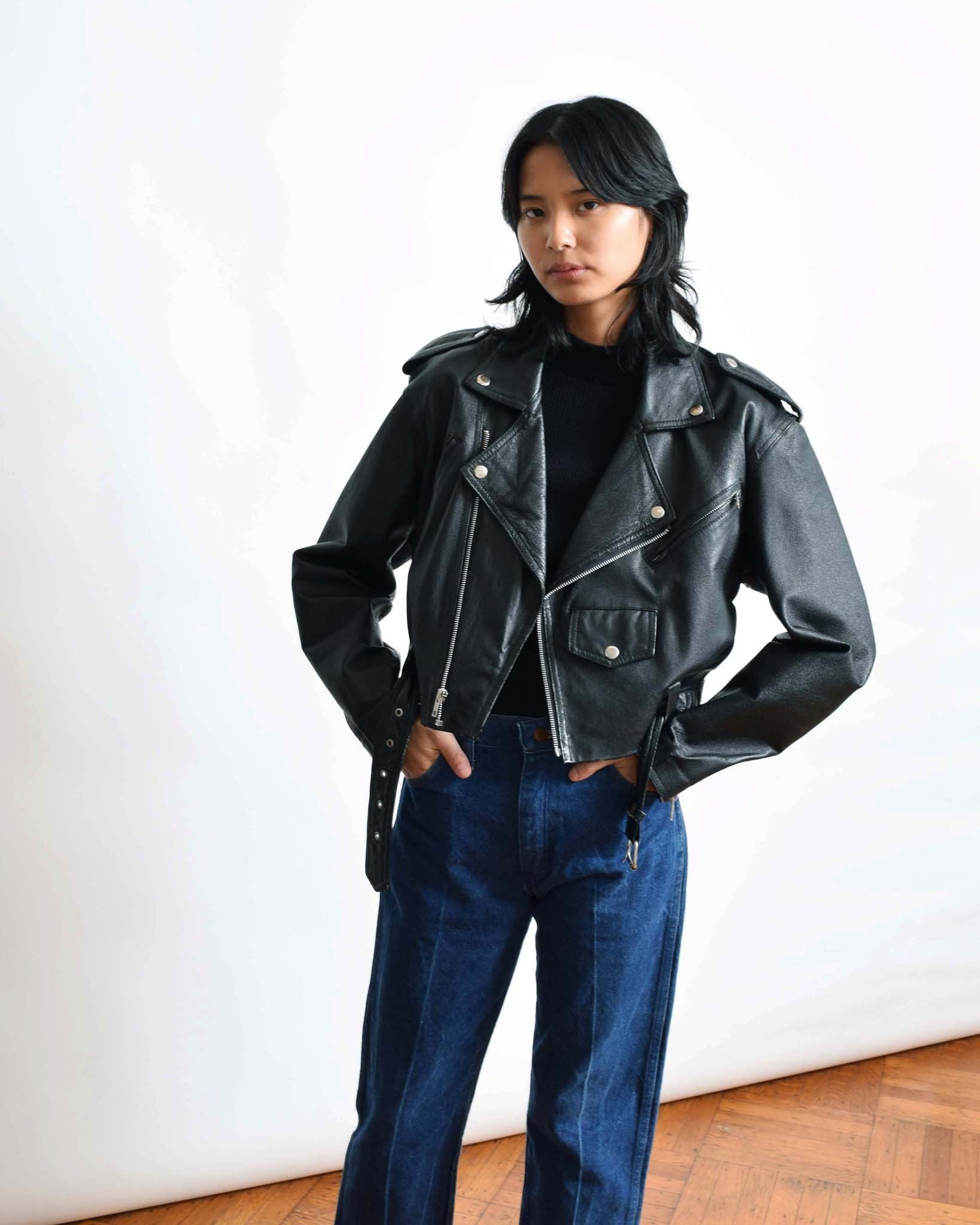 Vintage Cropped Motorcycle Jacket